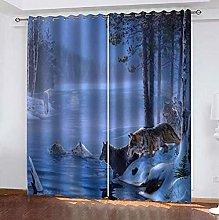 LIGAHUI Kids Blackout Curtains Blue wolf 2x W66x