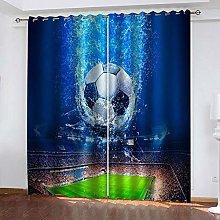 LIGAHUI Kids Blackout Curtains Football & Blue 2x