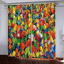 LIGAHUI Kids Blackout Curtains Lego & building