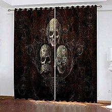 LIGAHUI Kids Blackout Curtains skull 2x W66x L72