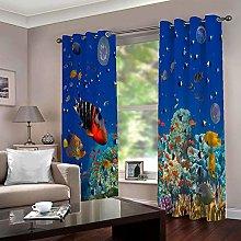 LIGAHUI Kids Blackout Curtains Undersea fish 2x
