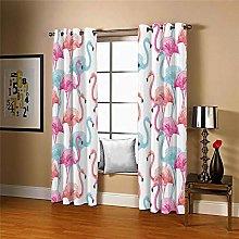 LIGAHUI Kids Blackout Curtains White & Flamingo 2x