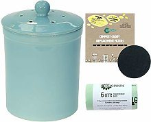 Light Blue Ceramic Compost Caddy, 2 Filters & 50 x