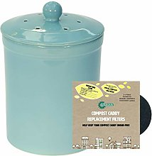 Light Blue Ceramic Compost Caddy & 2 Filters -