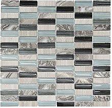 Light Blue Glass & Stone Mosaic Tiles Decorative