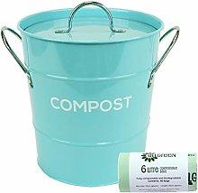 Light Blue Metal Kitchen Compost Caddy & 50x 6L