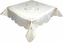 Light Brown Floral Embroidered Tablecloth in a 85