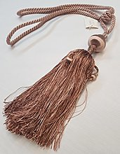 Light Chocolate Beaded Tassel Curtain Tie Back