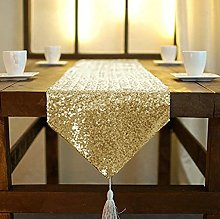 Light Gold Sequin Table Runner with Tassle
