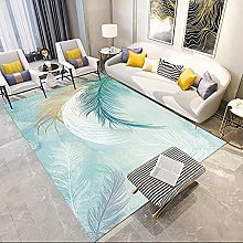Light green feathers Area rug modern style rug