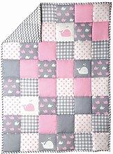 Light Grey Baby Crib Blanket Pink Cot Bedding Cute