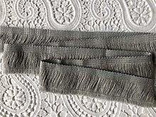 LIGHT GREY Brush Fringe Tassels Textile Cut Pillow