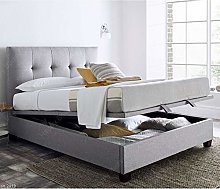 Light Grey Fabric Ottoman Bed, Happy Beds