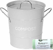 Light Grey Metal Kitchen Compost Caddy & 50x