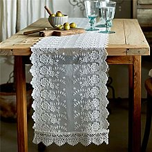 Light Luxury White Lace Table Runner, Embroidered