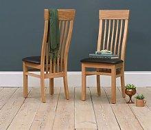 Light Oak Shaker Chair - Leather Seat Pad