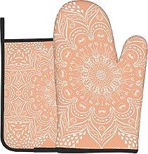 Light Orange Bohemian Mandala Oven Gloves Heat For