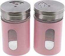 Light Pink Salt Pepper Shakers Retro Spice Jars