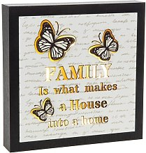 Light Up Box Butterfly Family Sign Square