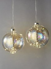 Light Up Glass Christmas Tree Baubles (Set Of 2)