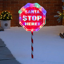 Light Up Santa Stop Here Sign