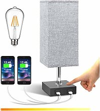 Lightess Touch Dimmable Bedside USB Table Lamp