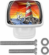 Lighthouse in The Sunset 4PCS Drawer Knobs Square