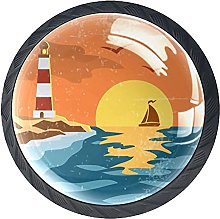 Lighthouse with Sunset 4 Pack Drawer Knobs for