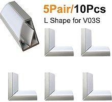 LightingWill 5Pair/10Pcs Silver Spliced L-Shape