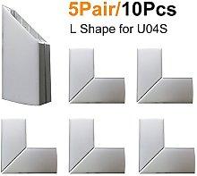 LightingWill 5Pair(10pcs) Silver Spliced L-Shape