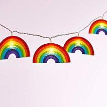 Lights4fun 10 Felt Rainbow String Lights Warm