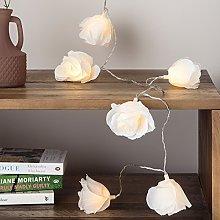 Lights4fun 20 LED Cream Rose Flower Indoor Fairy