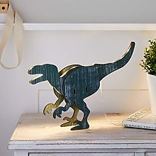 Lights4fun 3D Wooden Dinosaur T-Rex Table Light