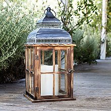 Lights4fun Distressed Candle Lantern Natural Wood