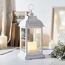 Lights4fun Distressed White Candle Lantern Battery