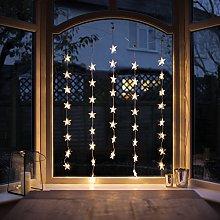 Lights4fun Indoor Star Curtain Light with 40 Warm