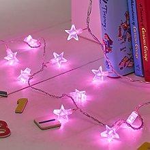 Lights4fun Indoor Star Fairy Lights with 30 Pink