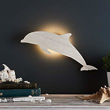 Lights4fun Wooden Dolphin Bedroom LED Wall Light