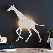 Lights4fun Wooden Giraffe Bedroom LED Wall Light