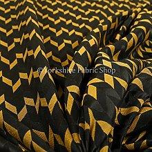 Lightweight Chenille Geometric Pattern Gold Colour