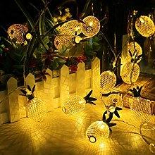 LIHAO Pineapple String Lights 10 LED Gold Metal