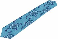 Lihuaval Tribal Floral Sea Turtle Table Runner
