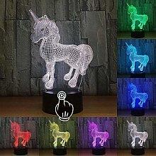 Lil Creative LED 3D Unicorn Night Light Girl