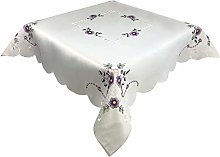 Lilac Floral Embroidered Tablecloth in a 85 x 85