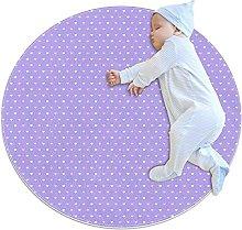 Lilac Heart Pattern Non-Slip Area Rug Small Round