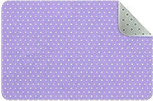 Lilac Heart Pattern Non Slip Play Mat Area Rug for