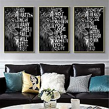 LILHXIU 3 Pieces Black And White Animal Wild Lions