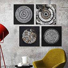 LILHXIU Canvas Wall Art Modern Golden Gray Element