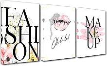 LILHXIU Fashion Makeup Poster Print 3 Pieces Pink