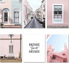 LILHXIU Mediterranean Pink Building Canvas